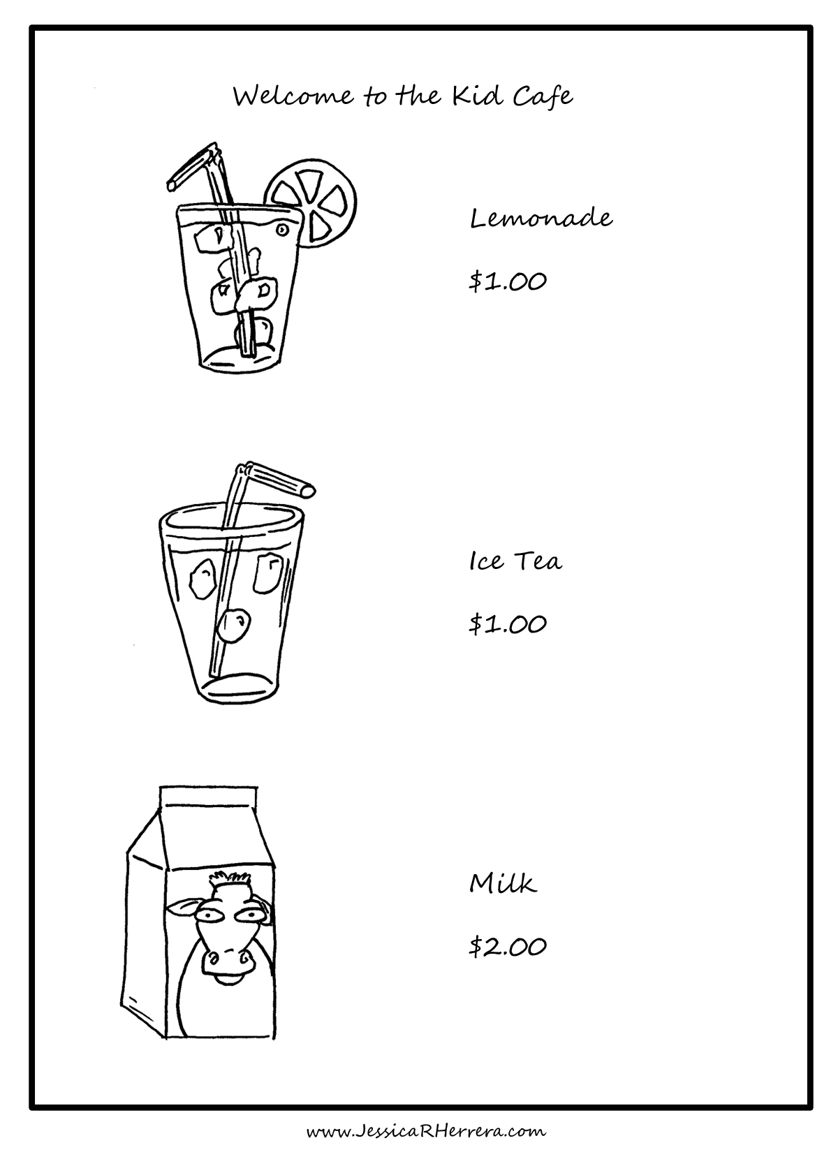 Drink Menu Coloring Page For Kids