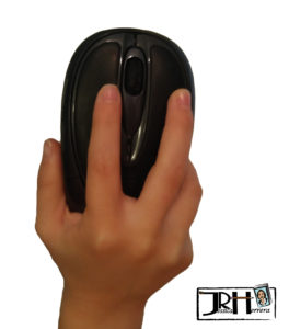 Child holding a computer mouse