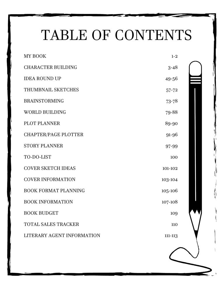 Storyteller Book Development Table of Contents